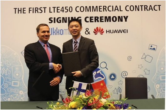 Ukkoverkot and Huawei sign a contract to deploy the world's first commercial LTE 450MHz network